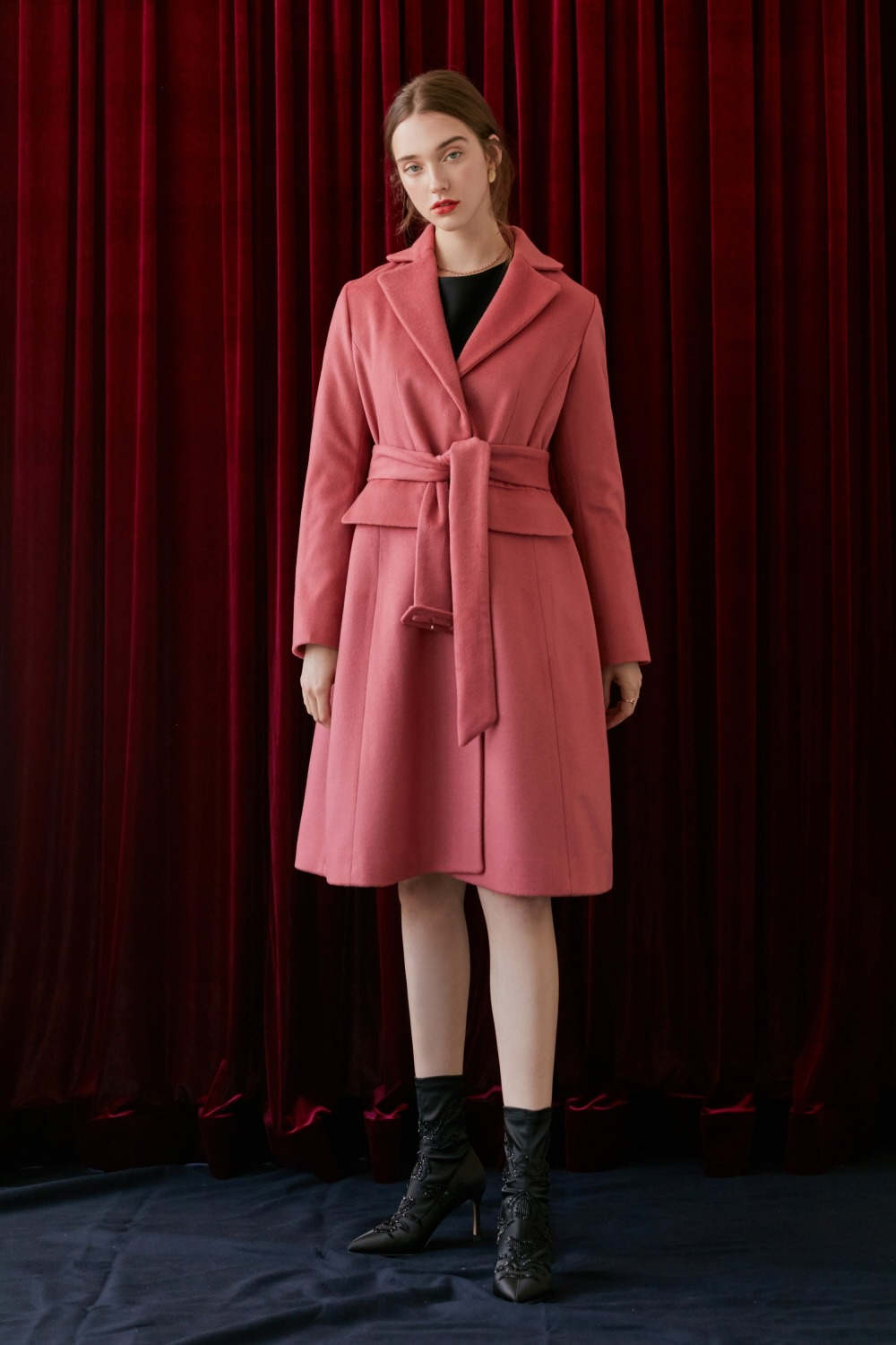 Classic belted wool coat (Pink)