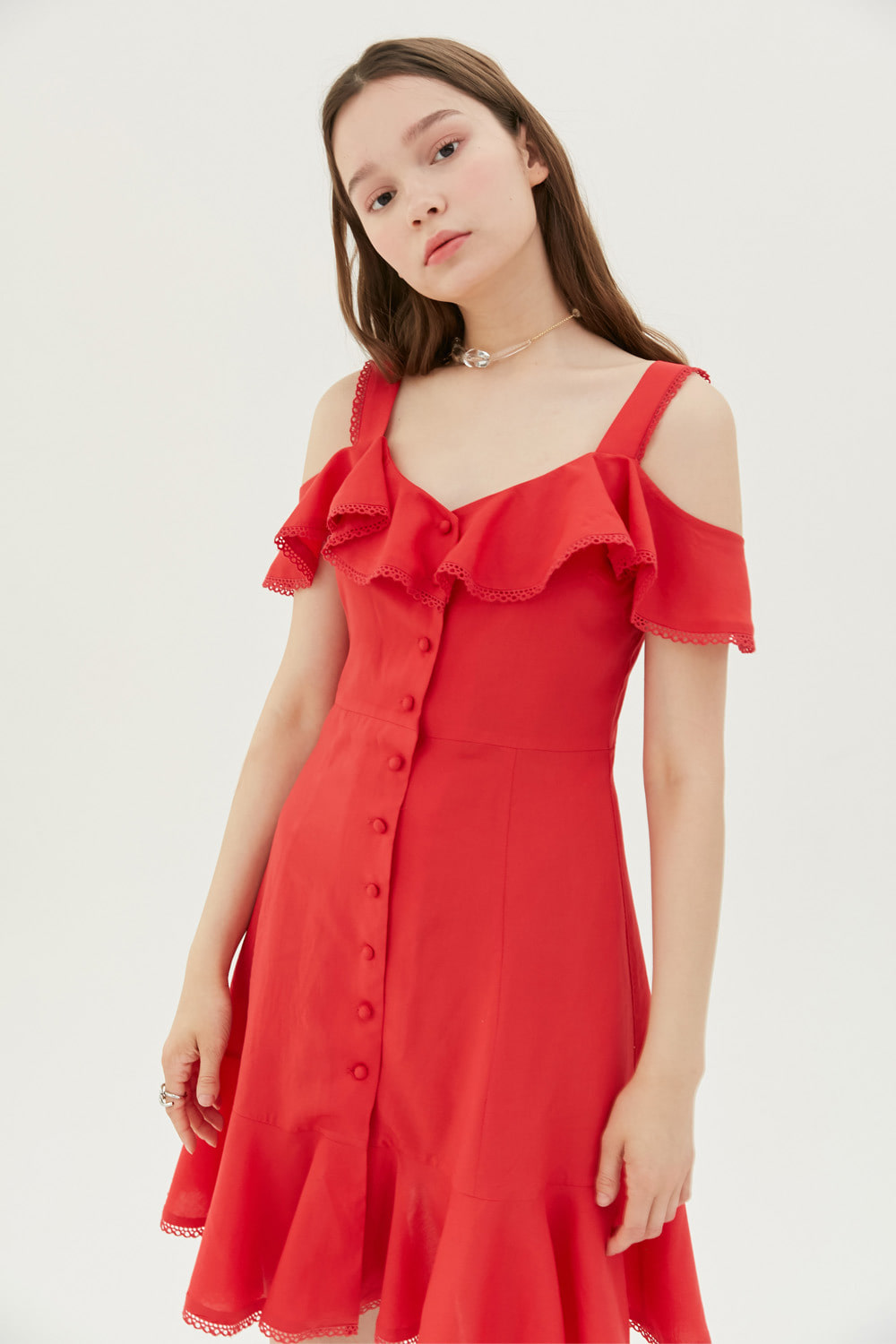 [여자친구 엄지 착용]Button down mini dress (Red)