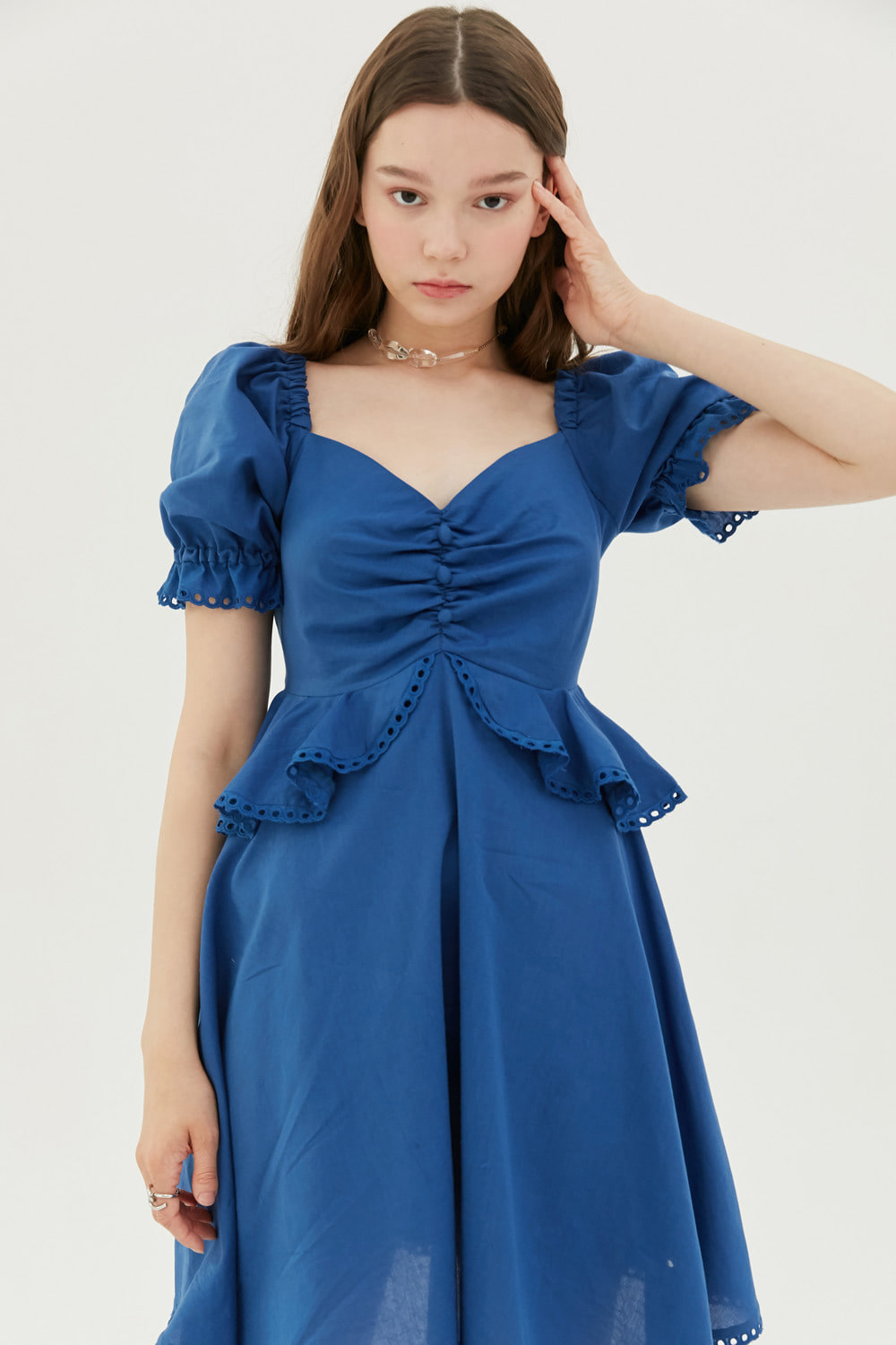 Ruffled cotton mini dress (Blue)