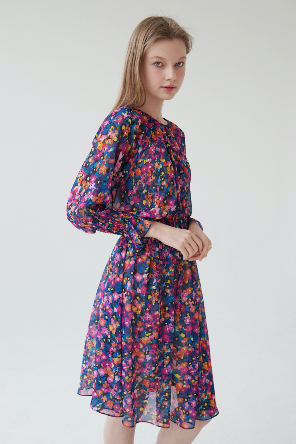 Watery flower chiffon dress (Black)