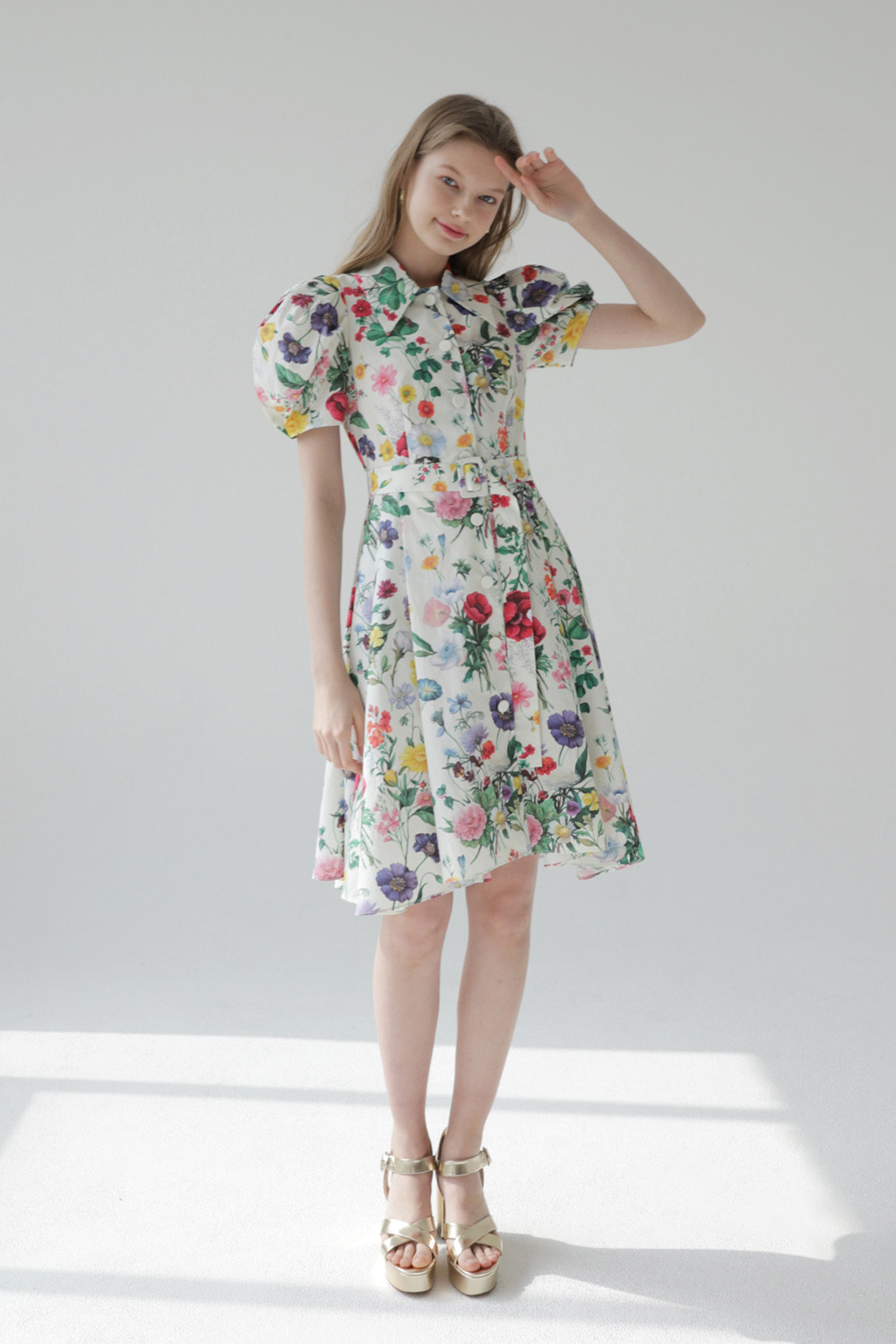 Flower garden cotton shirt dress (Ivory)