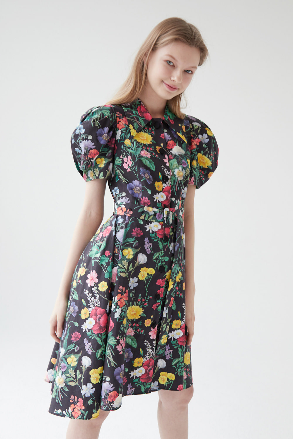 Flower garden cotton shirt dress (Black)