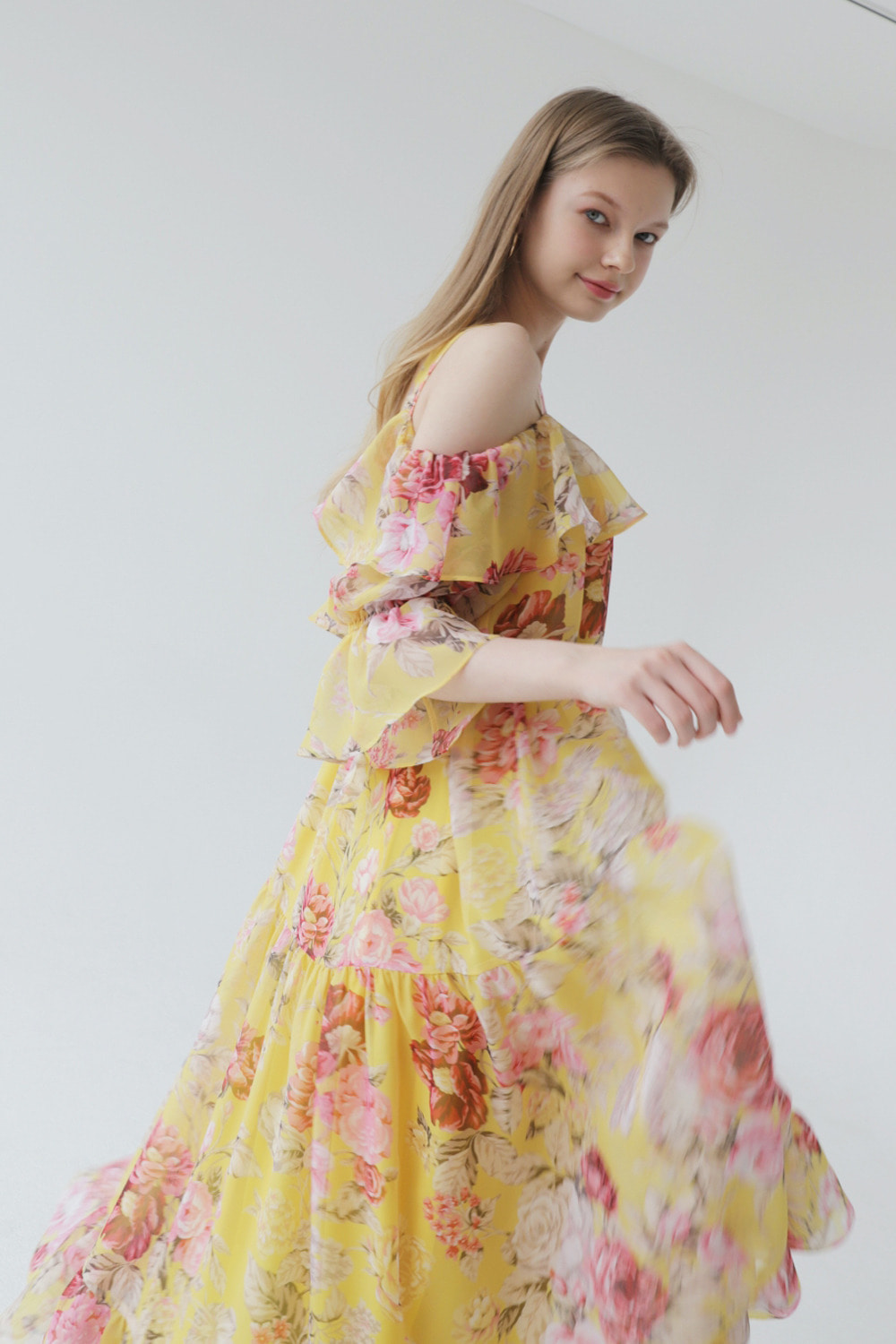 Dreamy flower chiffon dress (Yellow)