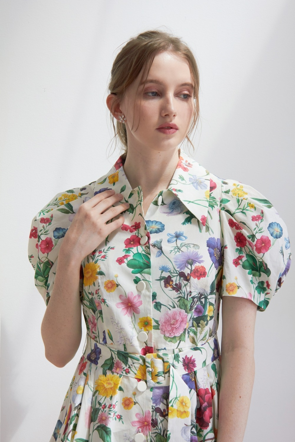 [김지민, 헤이지니 착용] Flower garden cotton shirt dress (Ivory)