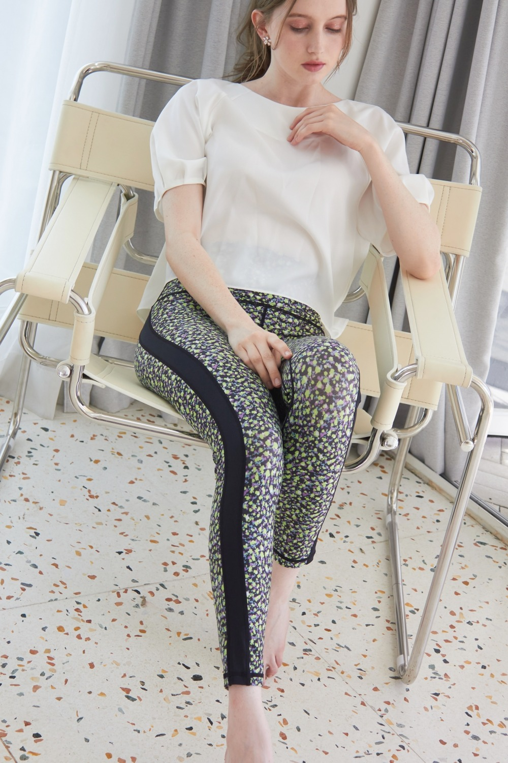 Dot flower leggings (Green)