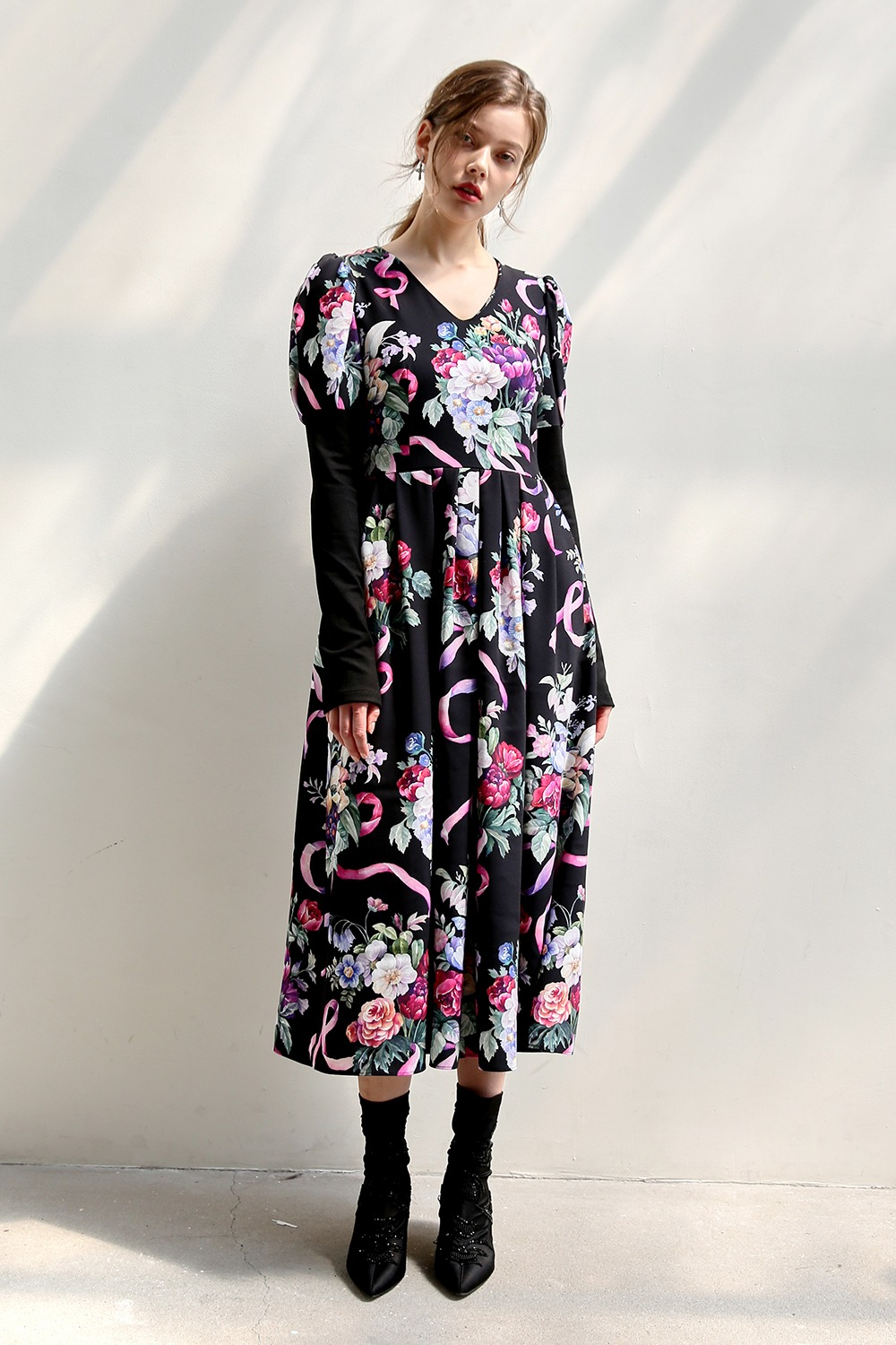 Absolute puff sleeve dress (Flower bouquet)