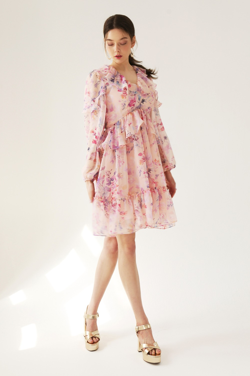 Flower dream romantic ruffle dress (Soft peach)