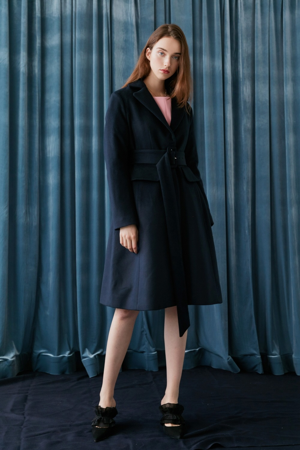 Classic belted wool coat (Navy)