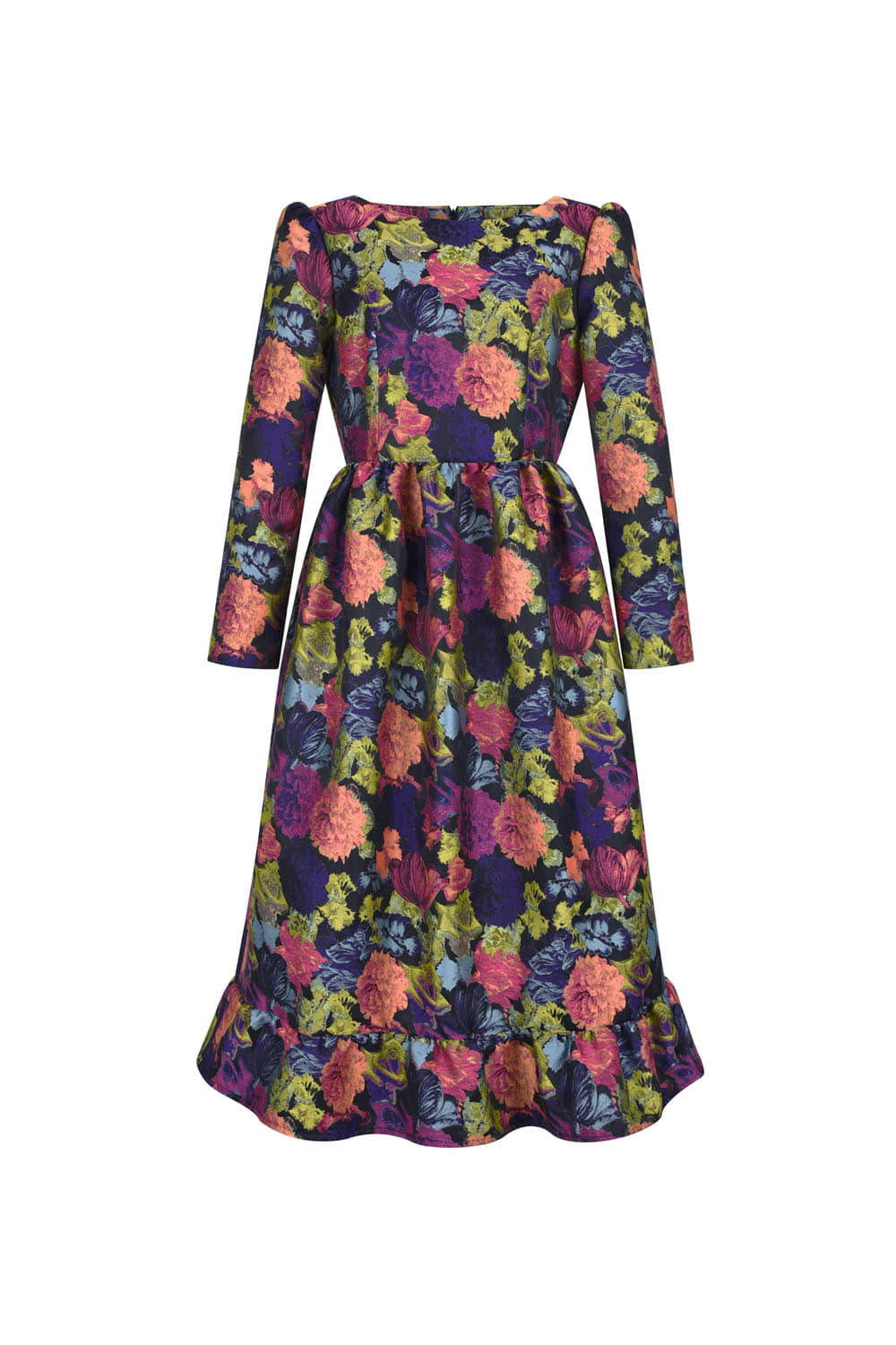 Flower bouquet jacquard dress