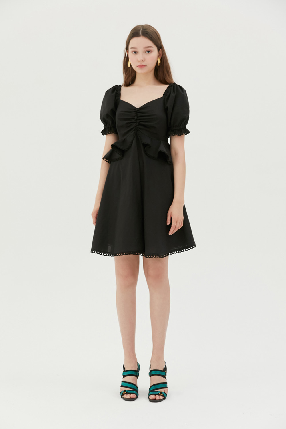 Ruffled cotton mini dress (Black)