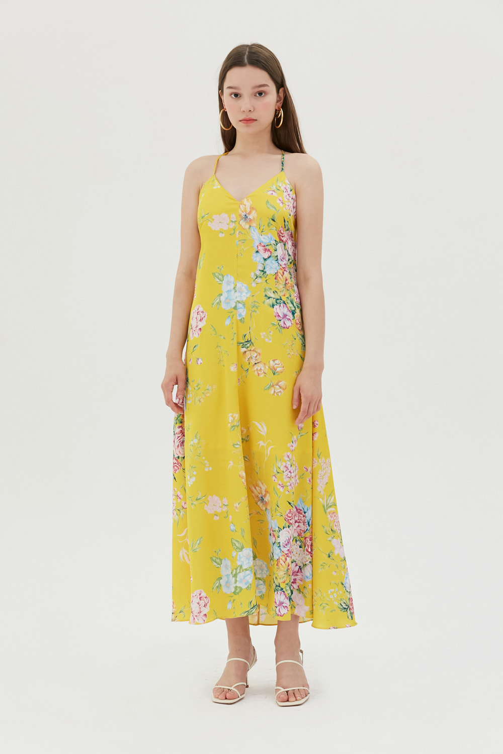 Summer floral print slip dress (Yellow)