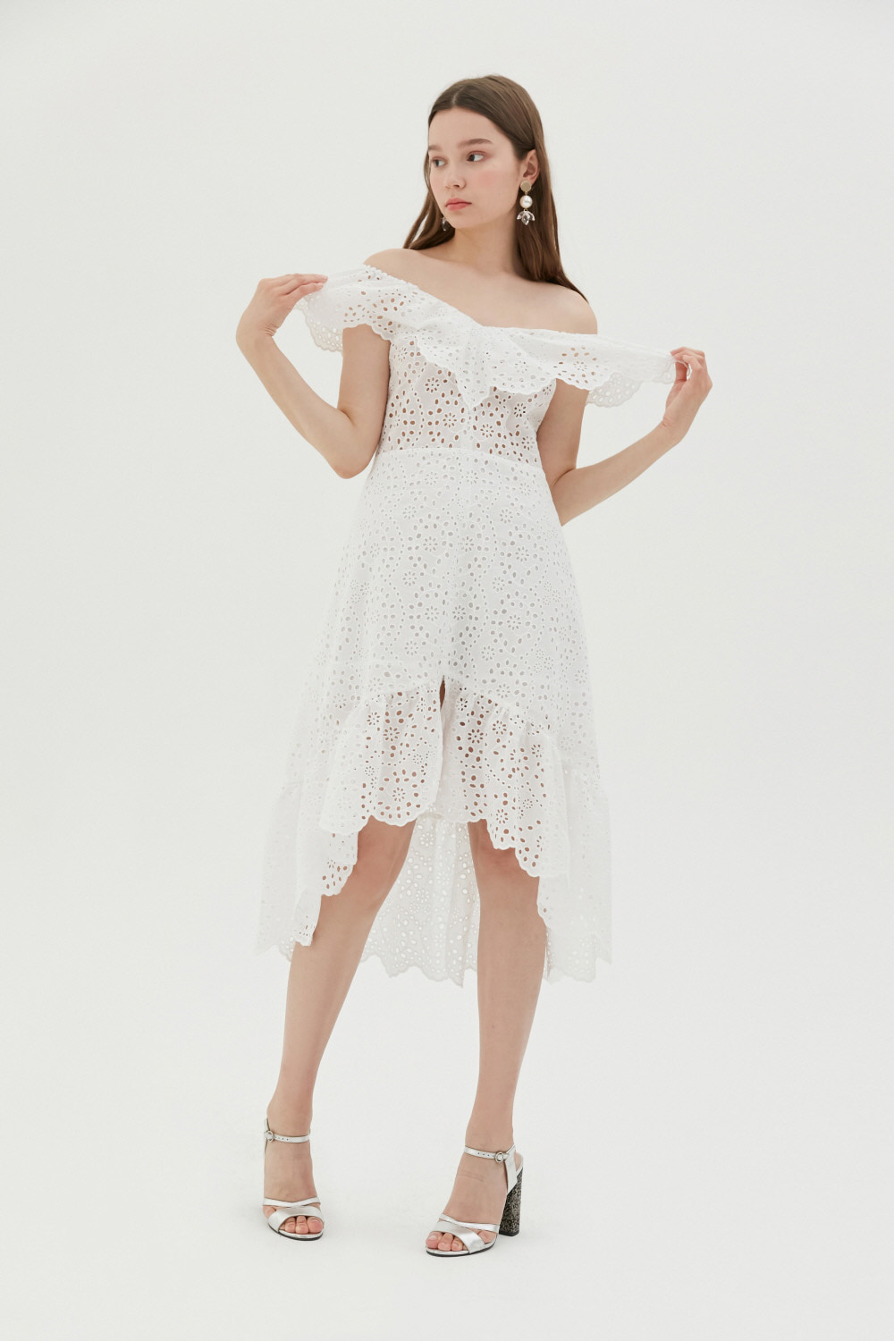 [신예은,여자친구 은하 착용] Butterfly eyelet lace cotton dress (White)