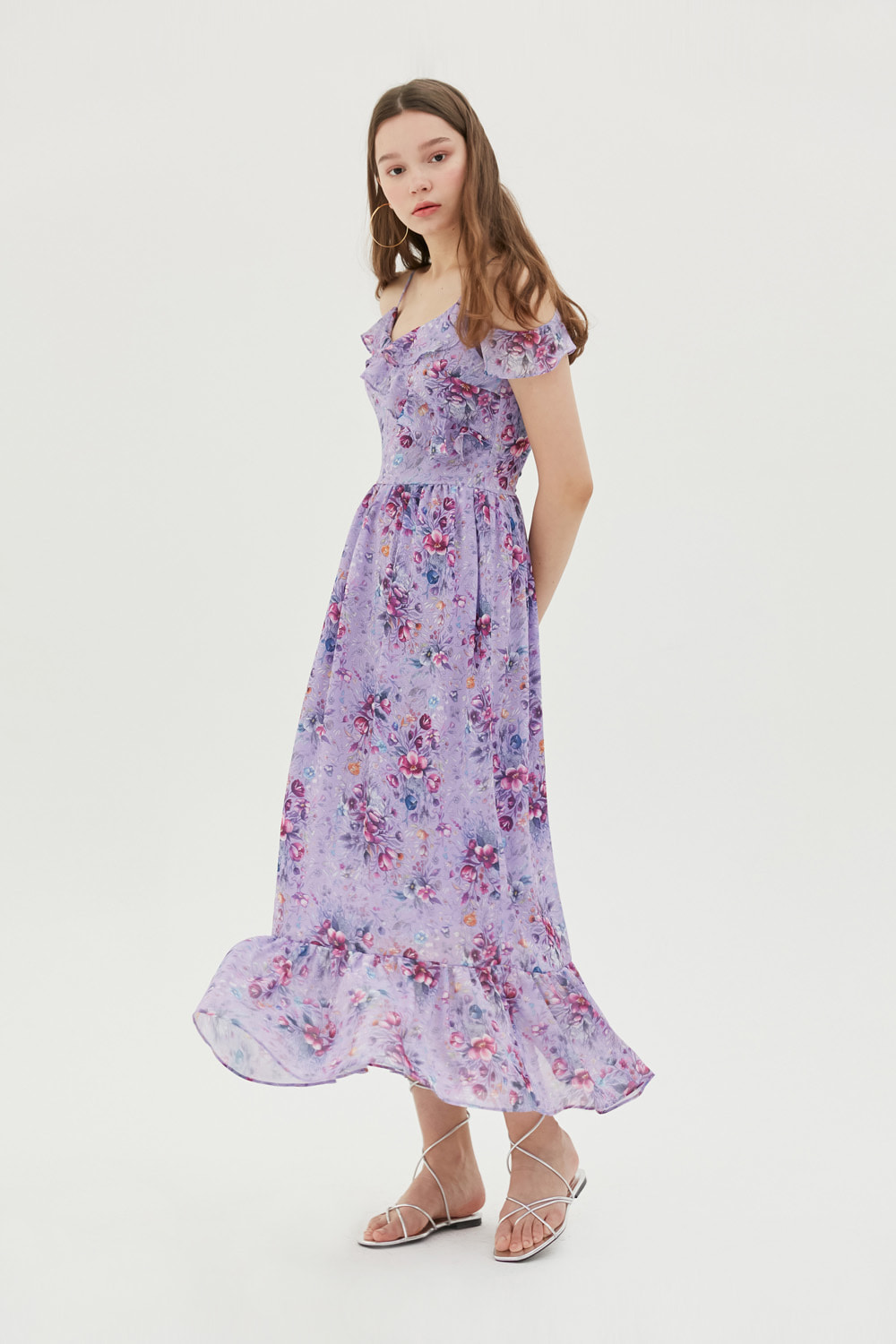 Ink drawing floral print dress (Light purple)