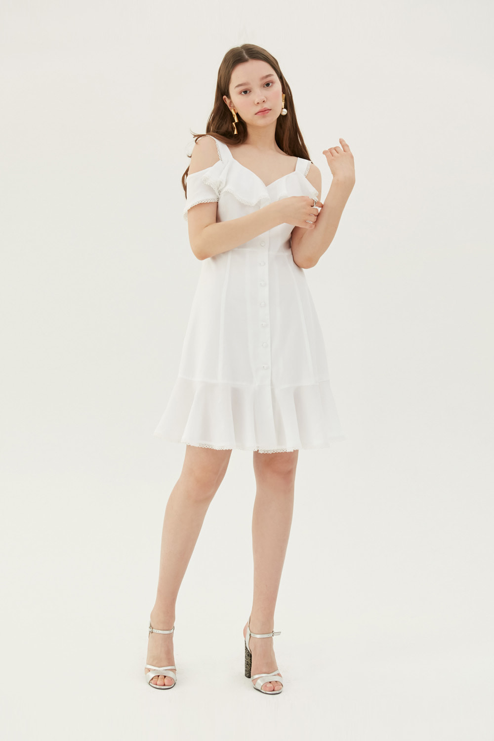 [레드벨벳 조이 착용] Button down mini dress (White)
