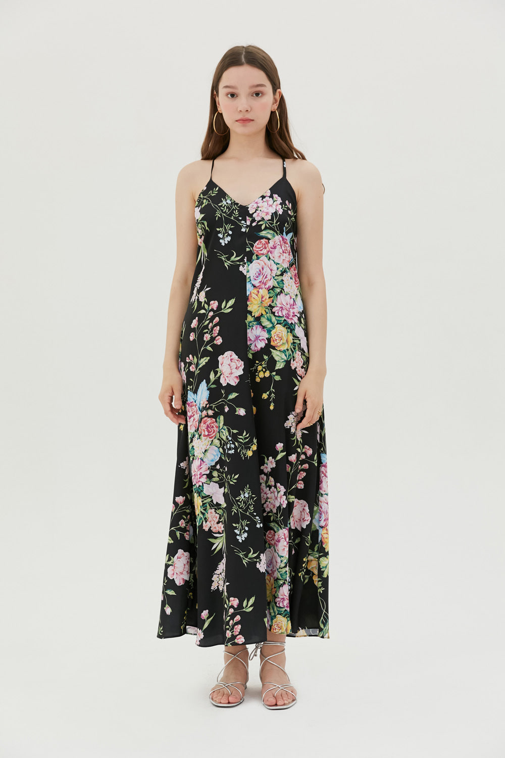 Summer floral print slip dress (Black)