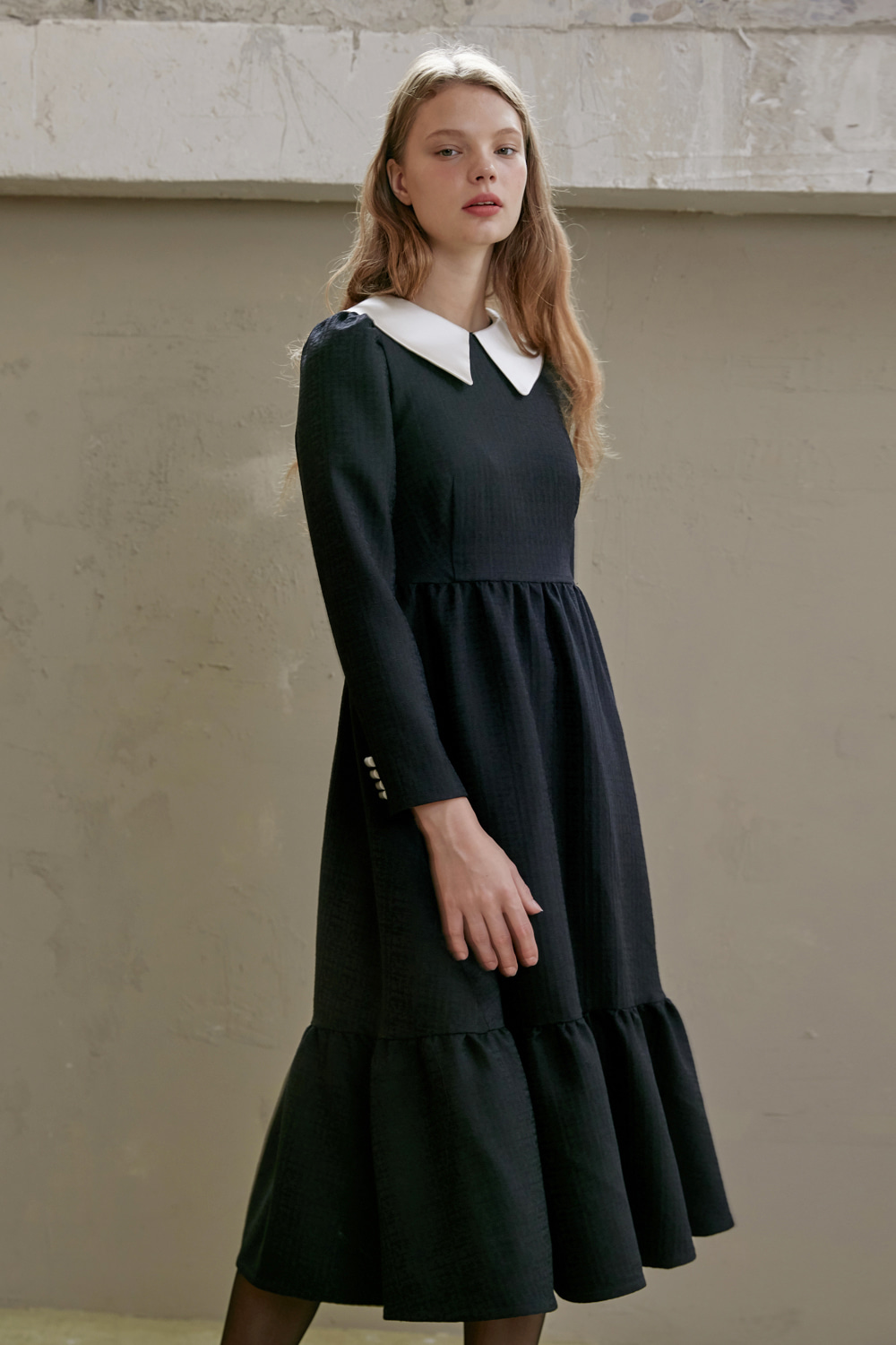 Elegant wool silk flare dress