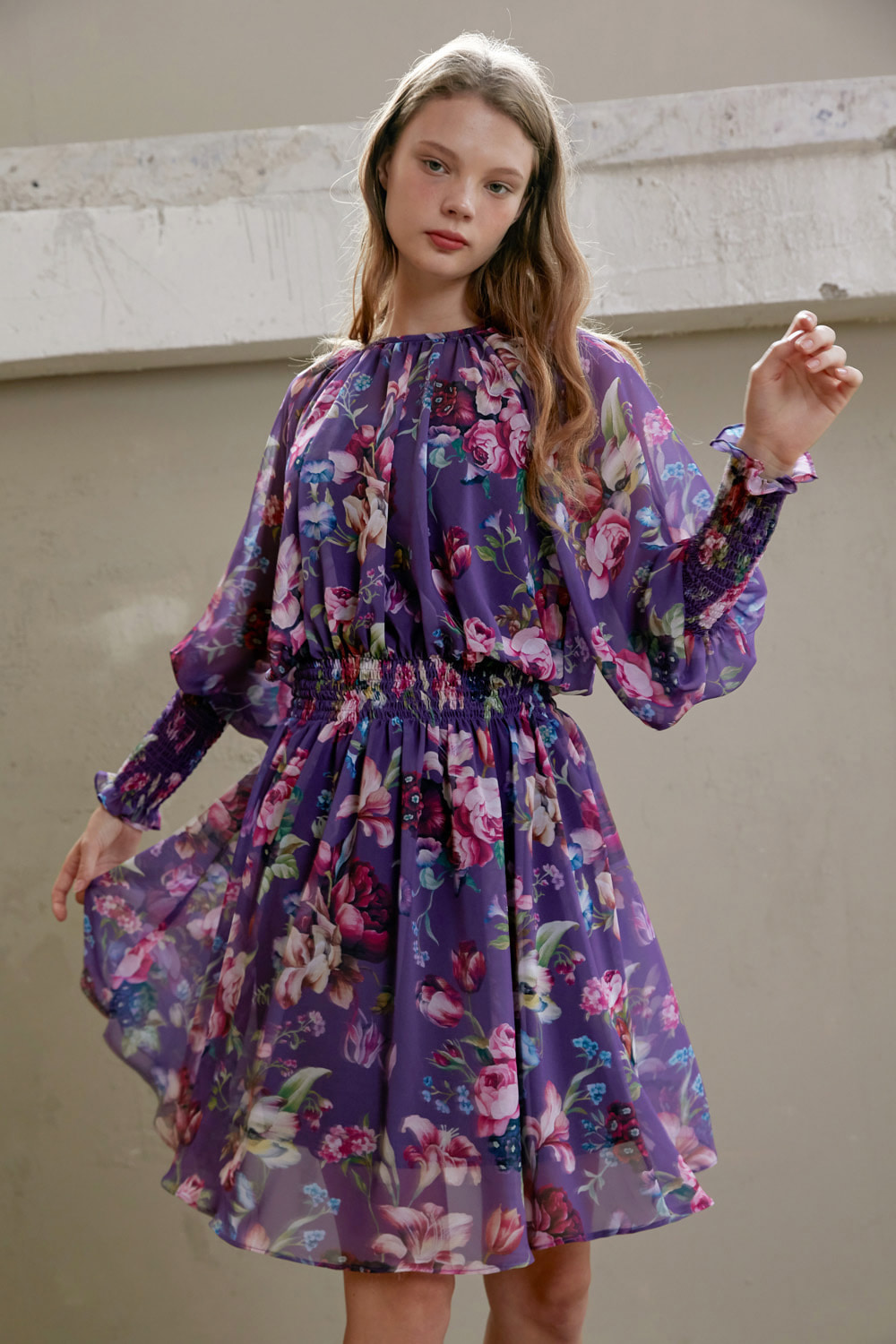 Floral mood chiffon dress (Purple)