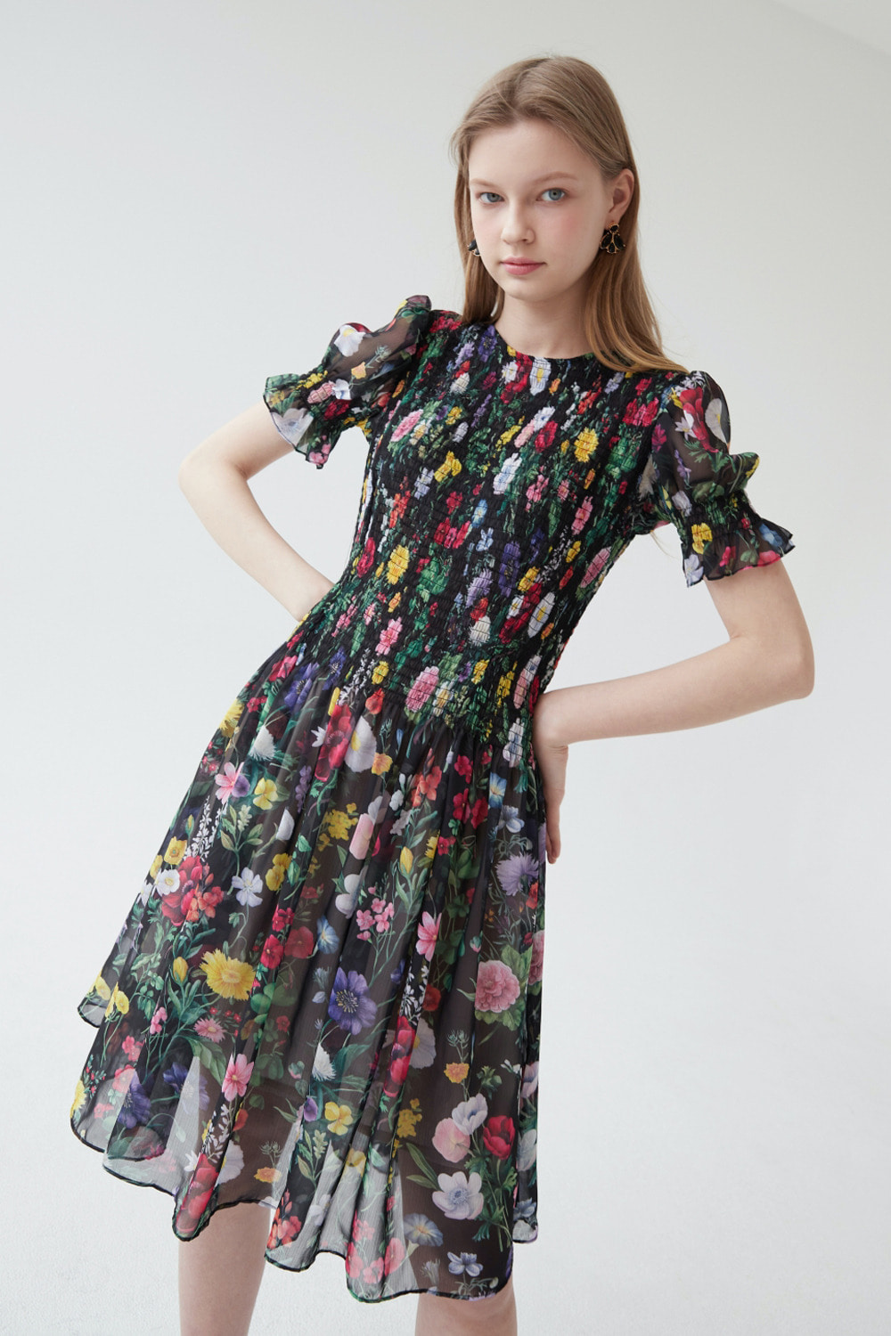 Flower garden elastic dress (Black)