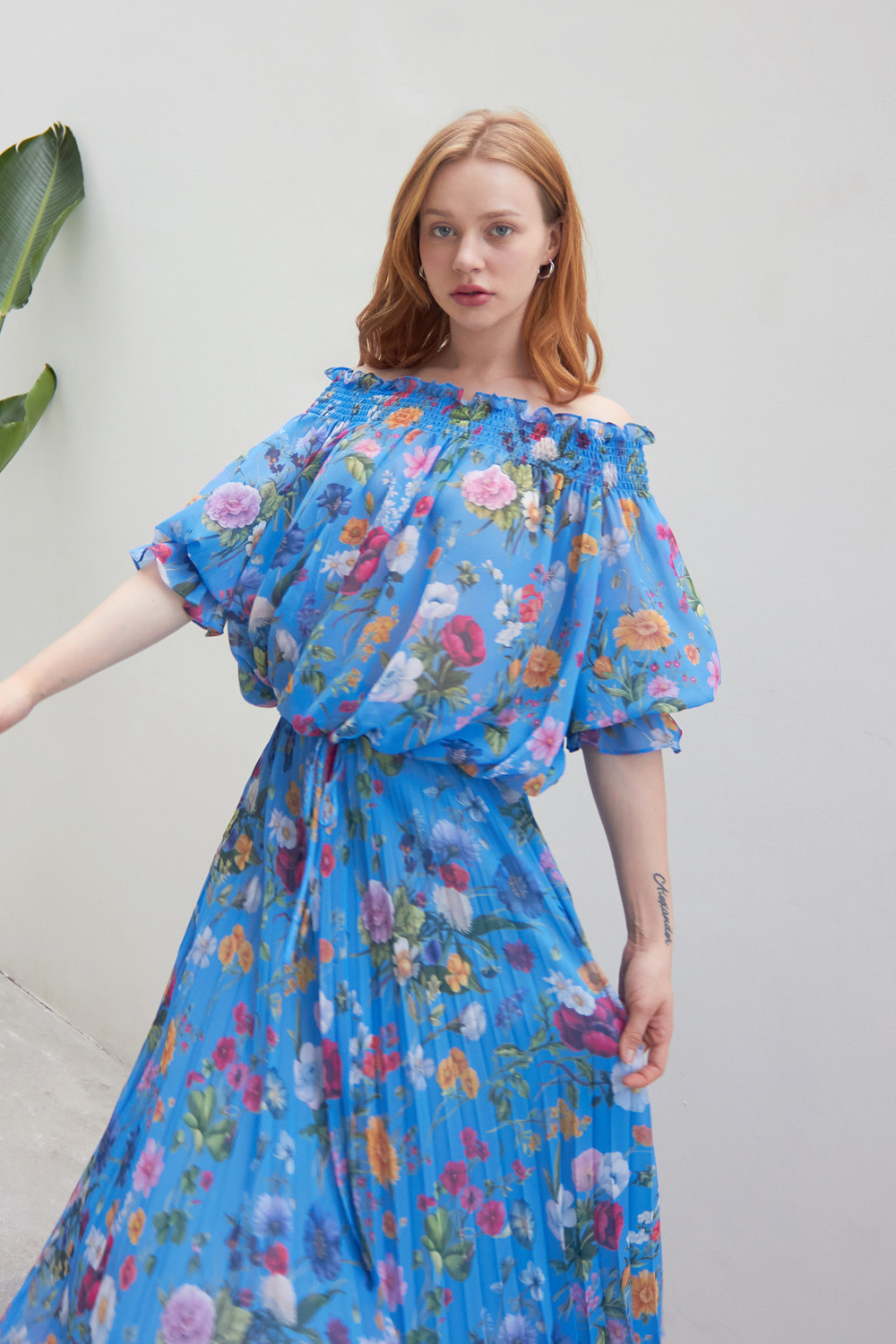 Flower garden off the shoulder top and skirt (Cornflower blue)
