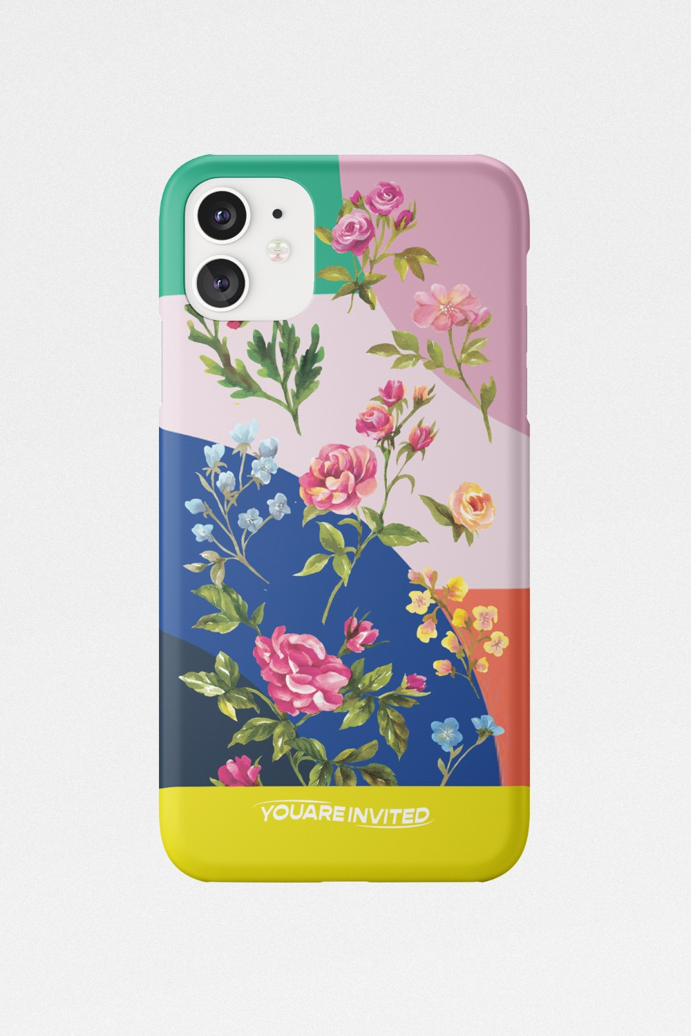 Wild flower color blocking hard case