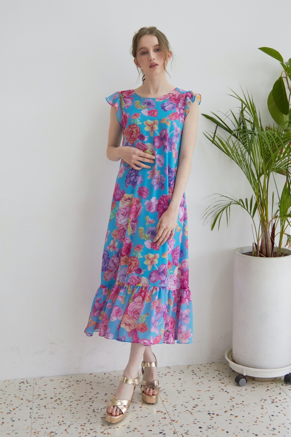 Blooming peony summer dress (Blue)