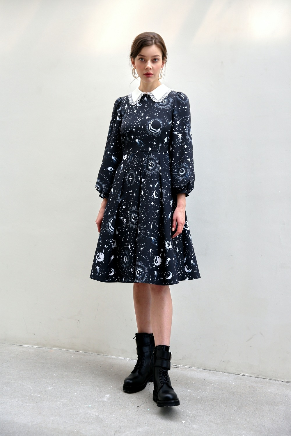 Universe silk collar dress