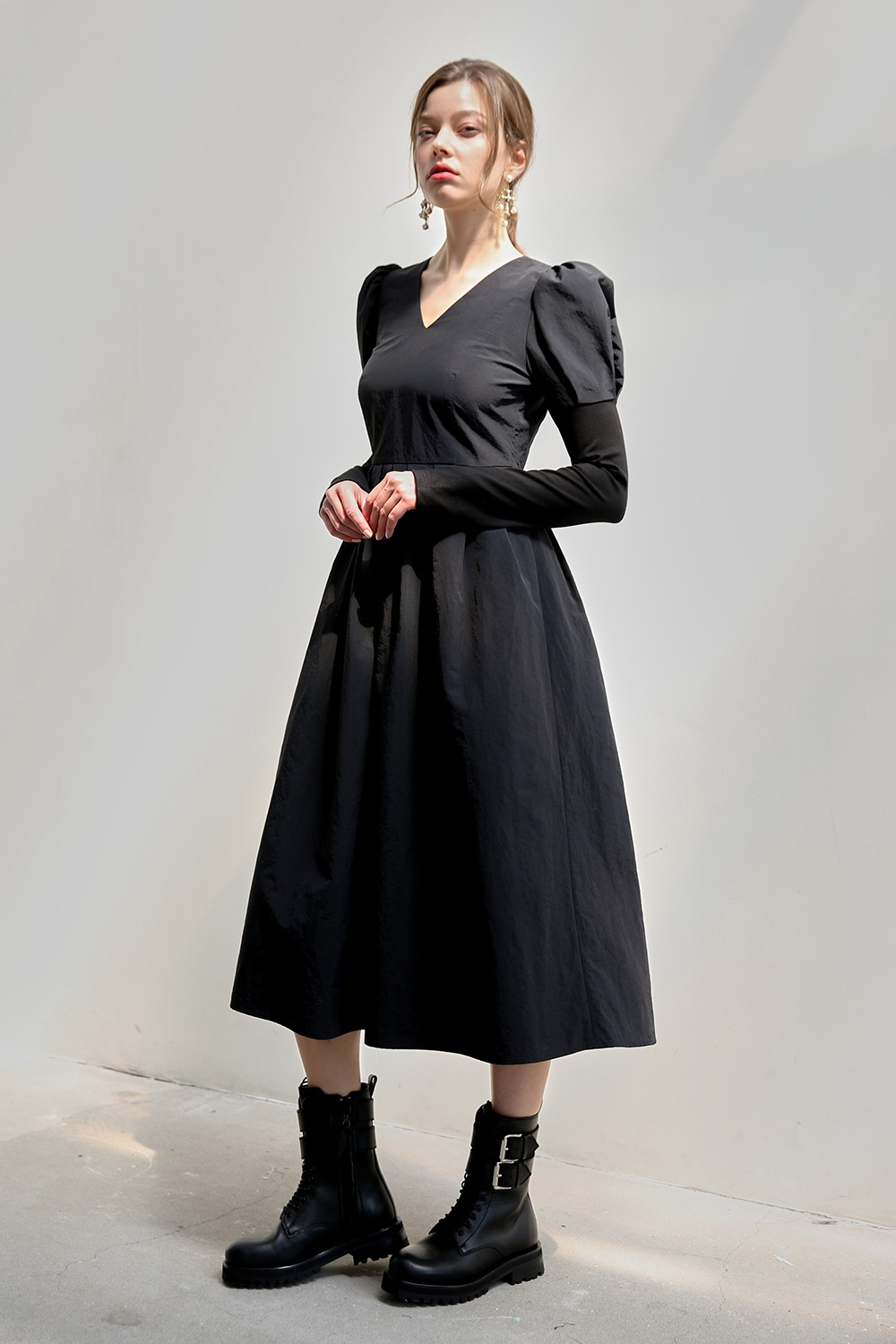 Absolute puff sleeve dress (Black)