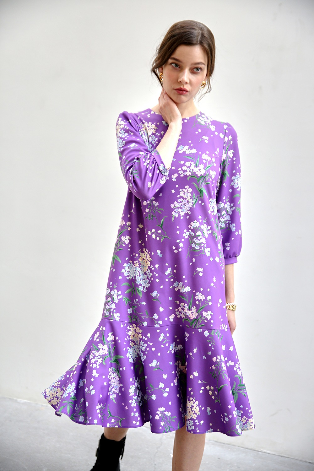 Essential flare dress (Purple)