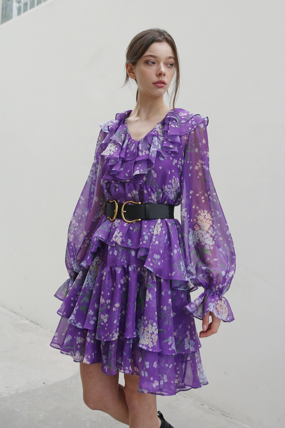 Windy flower dramatic ruffle dress