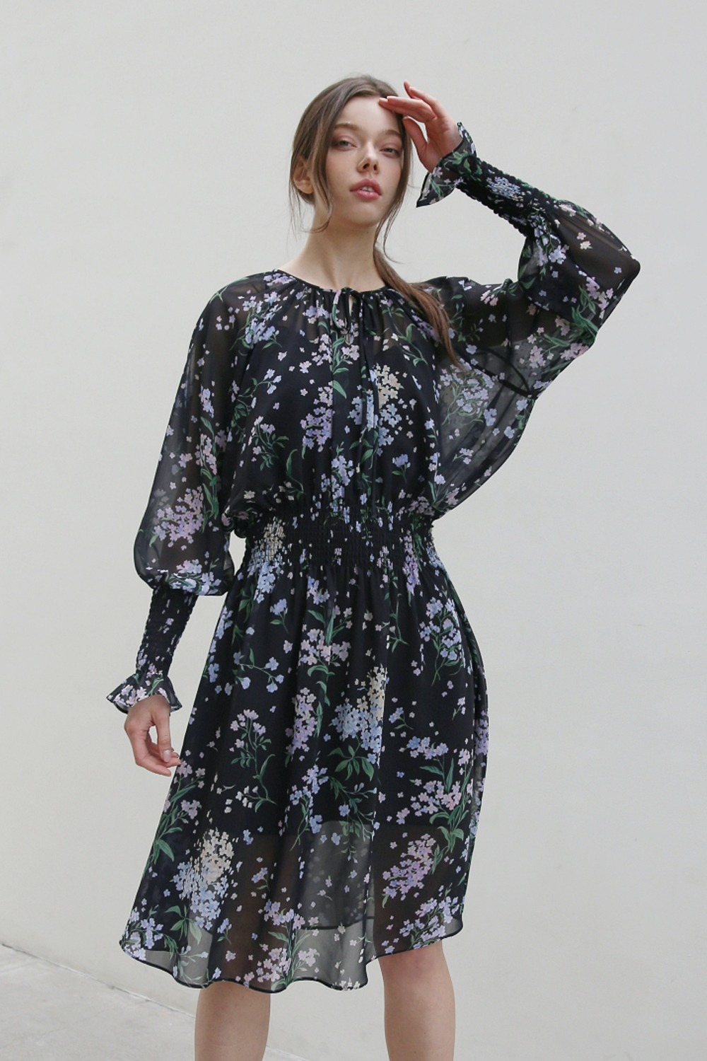 Windy flower chiffon dress